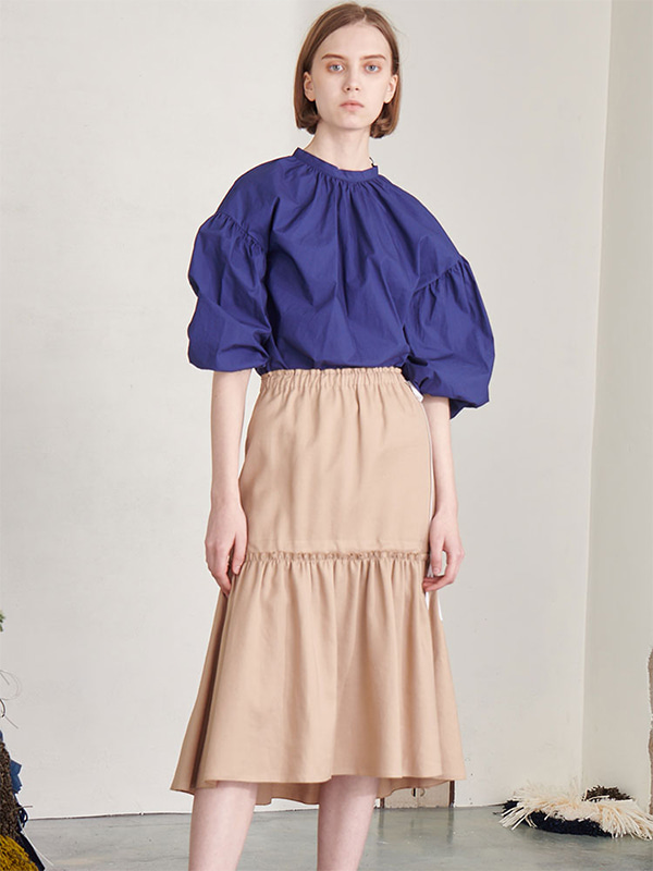 STRING SHIRRING SKIRT_BEIGE